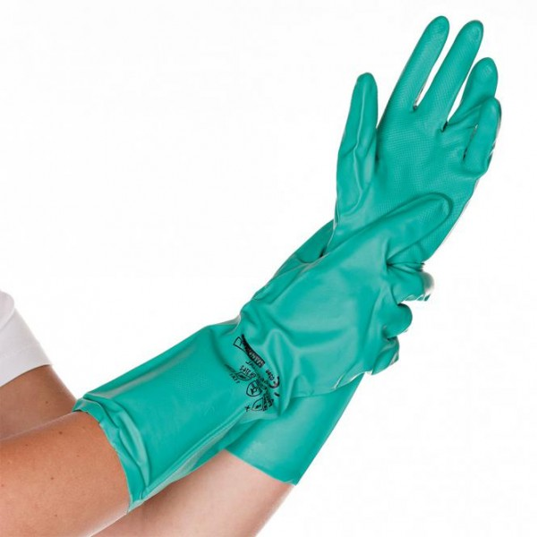 HYGOSTAR Nitril-Mehrweghandschuhe / Chemikalienschutzhandschuhe grün