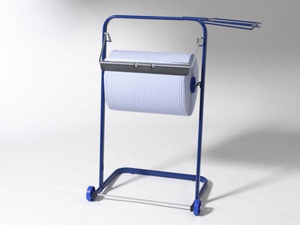 Bodenständer Metall blau für Putztuchrollen