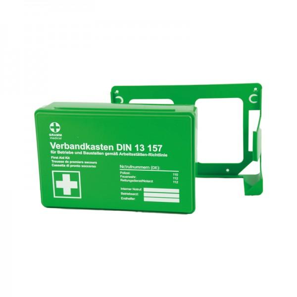 Betriebsverbandkasten kompakt + Wandhalterung grün, DIN 13 157