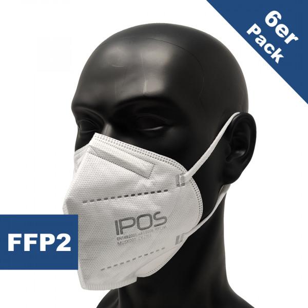 Atemschutzmaske FFP2 ohne Ventil weiß (6er Packung)
