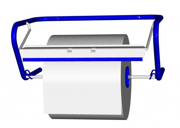 Wandhalter Metall blau für Putztuchrollen